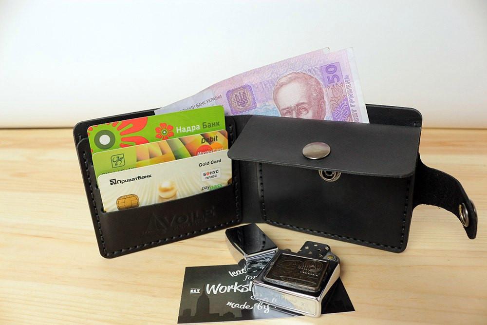 Мужской кожаный кошелек ручной работы VOILE vl-cw3-blk