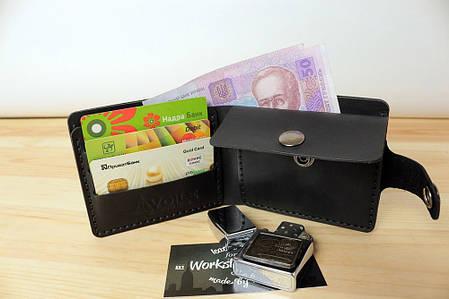 Мужской кожаный кошелек ручной работы VOILE vl-cw3-blk, фото 2