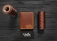 Мужской кожаный бумажник ручной работы VOILE vl-mw3-lbrn-tbc, фото 2