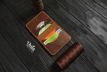 Мужской кожаный бумажник ручной работы VOILE vl-mw3-lbrn-tbc, фото 3