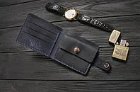 Мужской кожаный кошелек ручной работы VOILE vl-cw3-blu синий