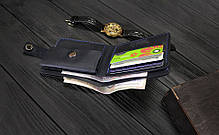 Мужской кожаный кошелек ручной работы VOILE vl-cw3-blu синий, фото 3