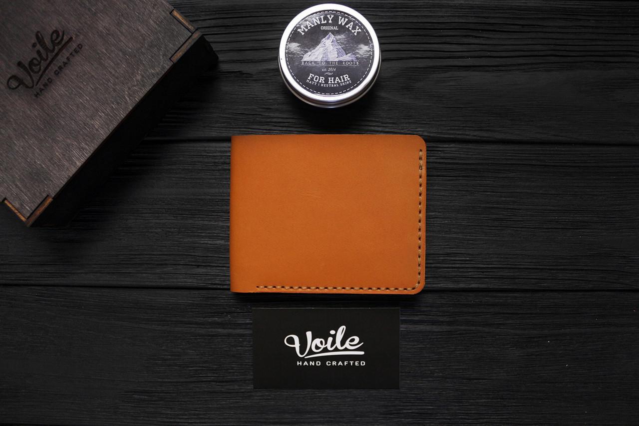 Мужской кожаный бумажник ручной работы VOILE vl-mw1-kgin-tbc рыжий