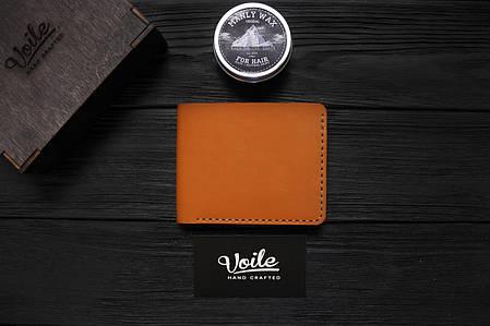 Мужской кожаный бумажник ручной работы VOILE vl-mw1-kgin-tbc рыжий, фото 2