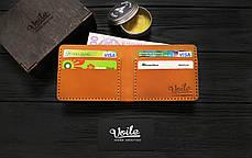 Мужской кожаный бумажник ручной работы VOILE vl-mw1-kgin-tbc рыжий, фото 3