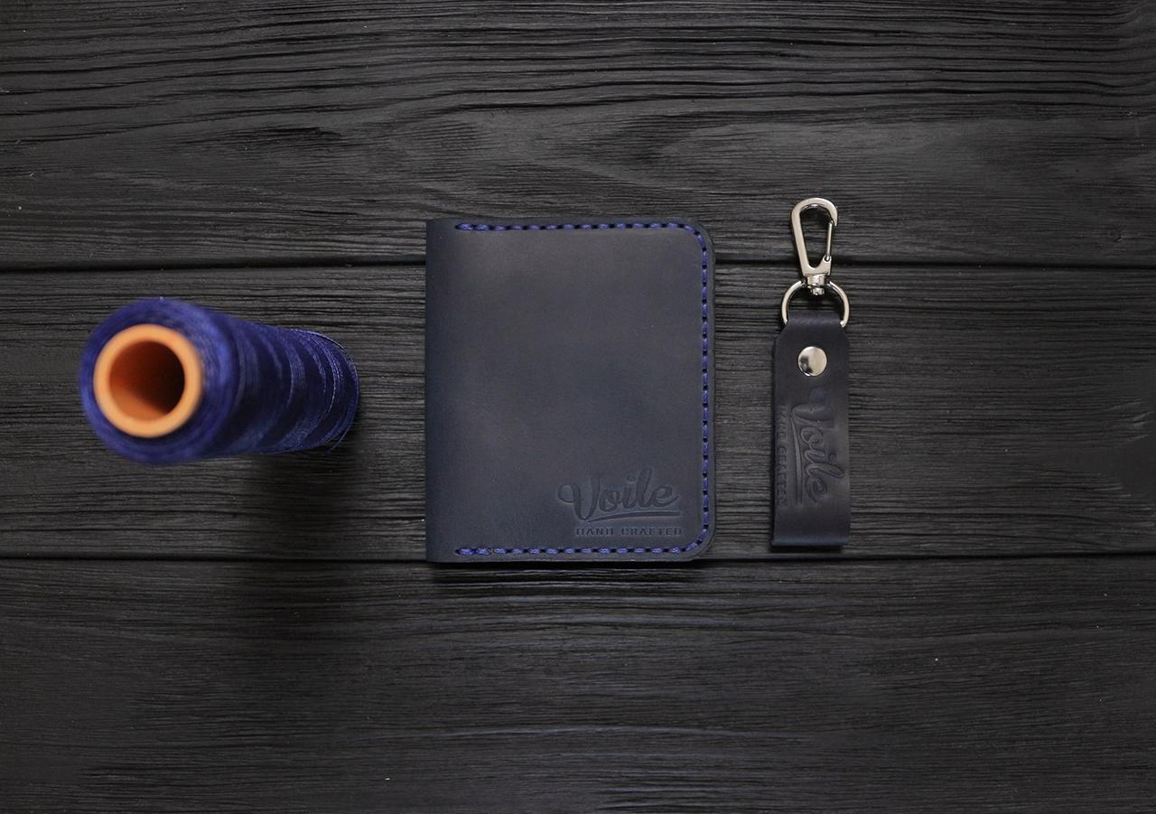 Мужской кожаный бумажник ручной работы VOILE vl-mw3-blu