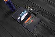 Мужской кожаный бумажник ручной работы VOILE vl-mw3-blu, фото 3