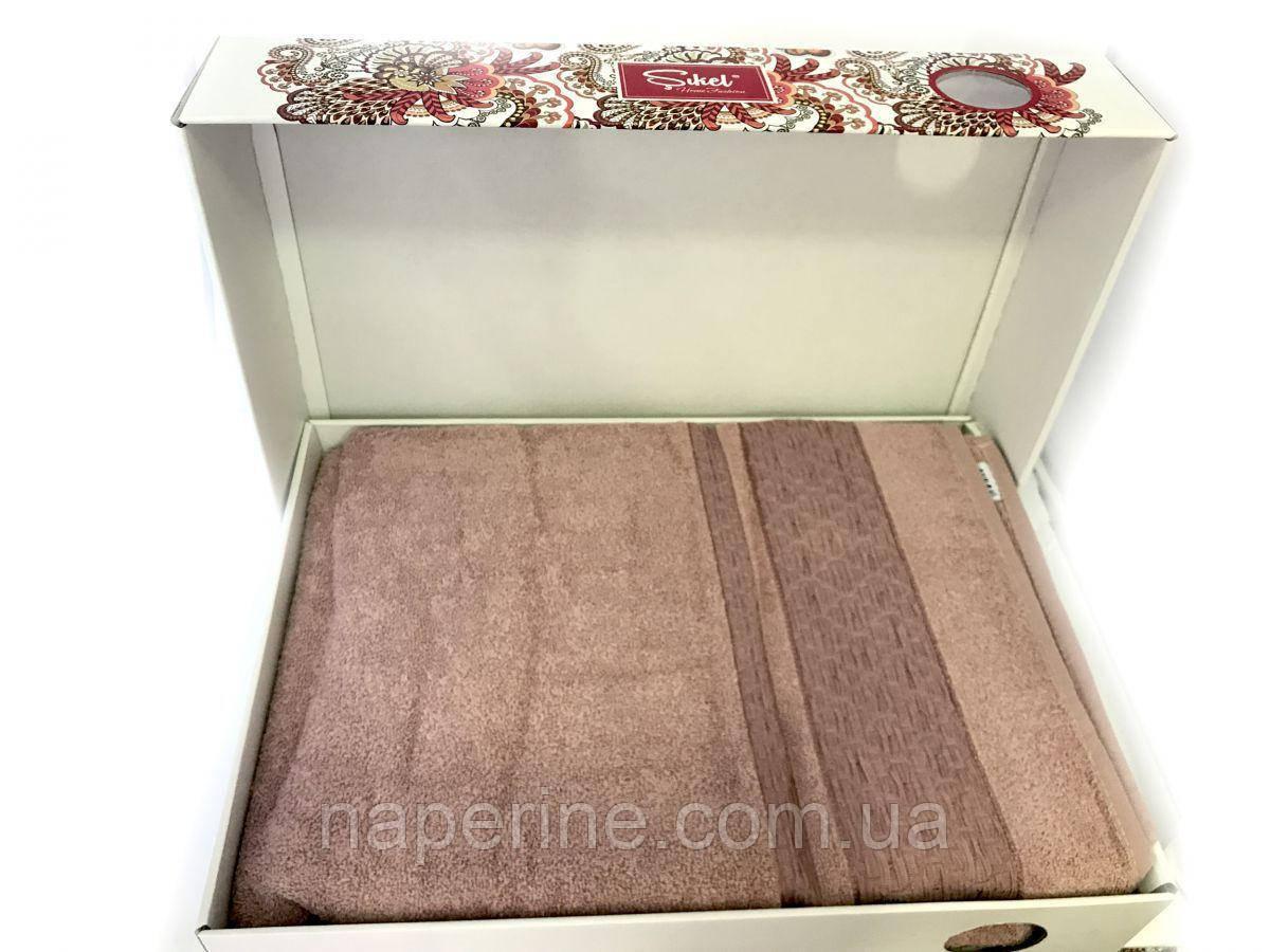 Простынь махровая Sikel евро размер (Турция) розово-фрезовый