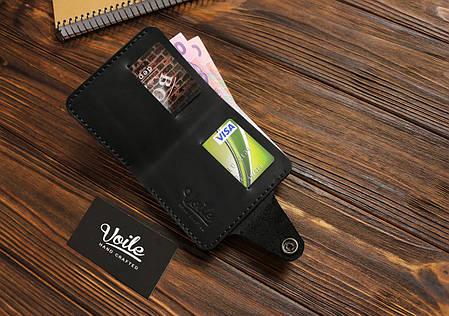 Мужской кожаный бумажник ручной работы VOILE vl-mw8-blk, фото 2
