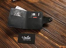 Мужской кожаный бумажник ручной работы VOILE vl-mw8-kblk, фото 3