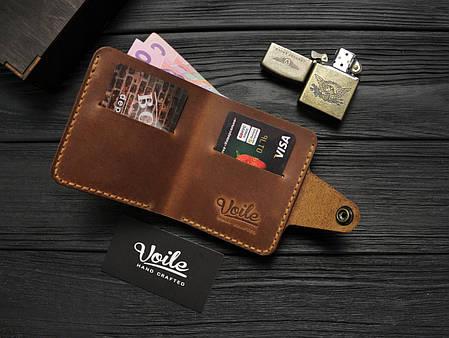 Мужской кожаный бумажник ручной работы VOILE vl-mw8-lbrn-tbc, фото 2