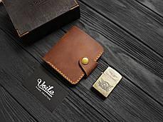 Мужской кожаный бумажник ручной работы VOILE vl-mw8-lbrn-tbc, фото 3