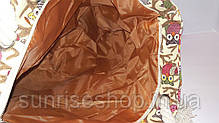 Пляжная текстильная летняя сумка для пляжа и прогулок Совушки бежевая, фото 3