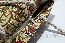Пляжная текстильная летняя сумка для пляжа и прогулок Совушки бежевая, фото 2