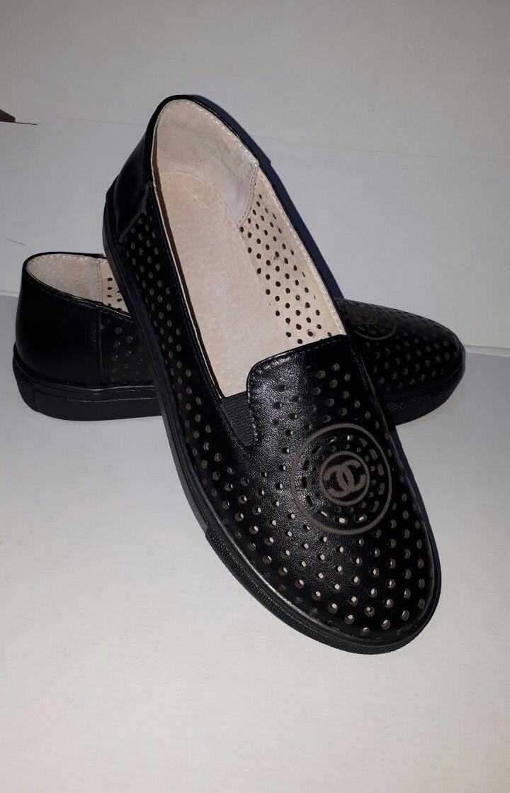 Слипоны кожаные перфорированые черные dd979bb658d60