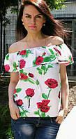 Блузка женская 6042 розы валан (лето)