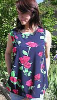 Блузка женская 6048 розы открытая спина (лето)
