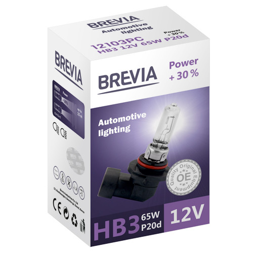 Галогеновая лампа Brevia HB3 Power +30% 12v/65w