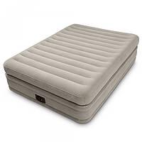 Надувная велюр-кровать со встроенным электронасосом, Intex