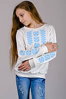 Трикотажная блузка-вышиванка (нежно-голубой орнамент); 134, 140, 146, 152 размер