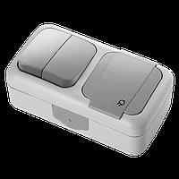 Выключатель 2-х клавишный + Розетка с заземлением VIKO Palmiye серый (90555582)