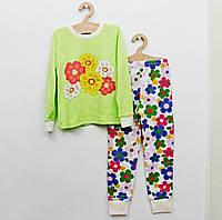 Пижама со цветами из интерлока для девочки