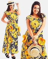 Красивое летнее женское молодежное длинное платье большого размера с карманами с принтом