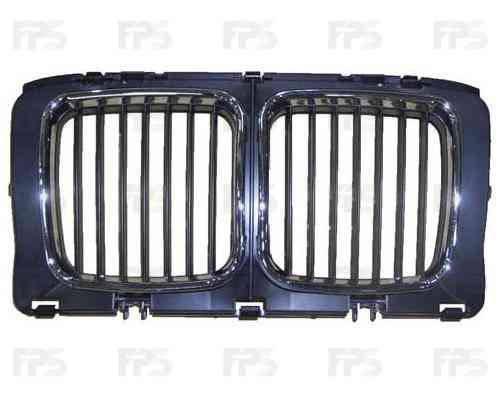 Решетка радиатора BMW 5 E34 88-93 средняя часть, хром рамки (FPS), фото 2