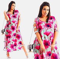 Модное нарядное свободное летнее женское длинное платье большого размера с разрезами на подоле и на рукавах