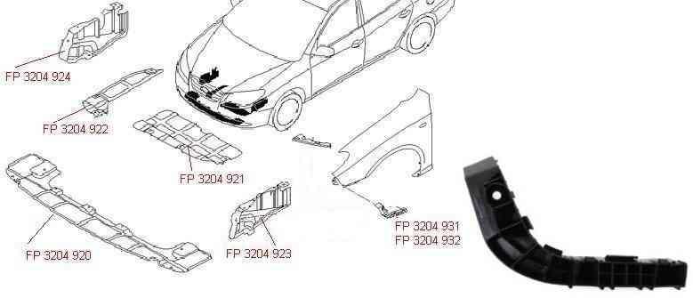 Крепеж переднего бампера Hyundai Elantra HD 06-10 левый, нижний (FPS) 865132H000