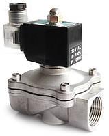 Электромагнитный клапан для воды и газа 2W-25С из нерж. стали