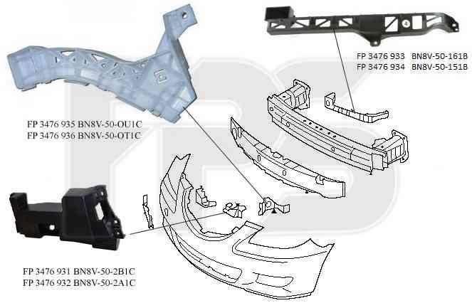Крепеж переднего бампера Mazda 3 04-09 Седан, правый, пластмас., 1 см.
