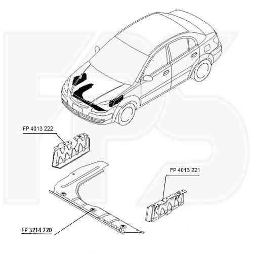 Защита двигателя пластиковая Kia Rio 05-11 FP 4013 221 (FPS)