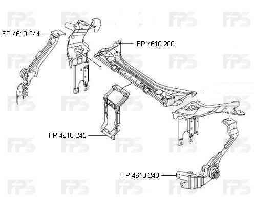 Ремчасть верхней панели Mercedes E-Class W211 02-09, средняя (FPS) 2116201916