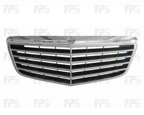 Решетка радиатора Mercedes E-Class W211 06-09 комплект, хром/черная (FPS) 2118801783, фото 2