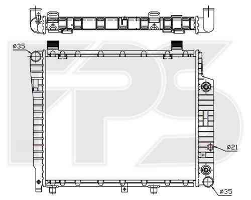 Радиатор охлаждения двигателя Mercedes C-Class W202, E-Class W210 2.0D, 2.2D АКПП, без кондиционера (93-00)