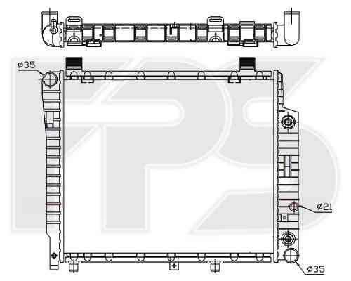 Радиатор охлаждения двигателя Mercedes C-Class W202, E-Class W210 2.0D, 2.2D АКПП, без кондиционера (93-00)  , фото 2