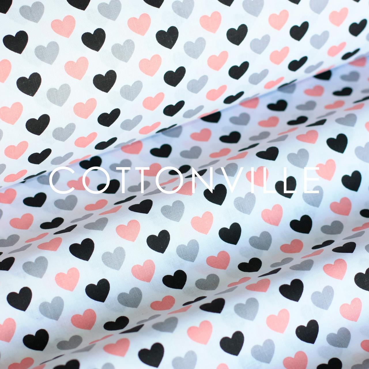 ✁ Отрезы хлопковой ткани Черно-розовые сердечки