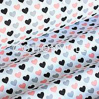 ✁ Отрезы хлопковой ткани Черно-розовые сердечки, фото 1