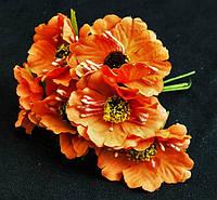 Маки из ткани упаковкой 60 шт Оранжевые