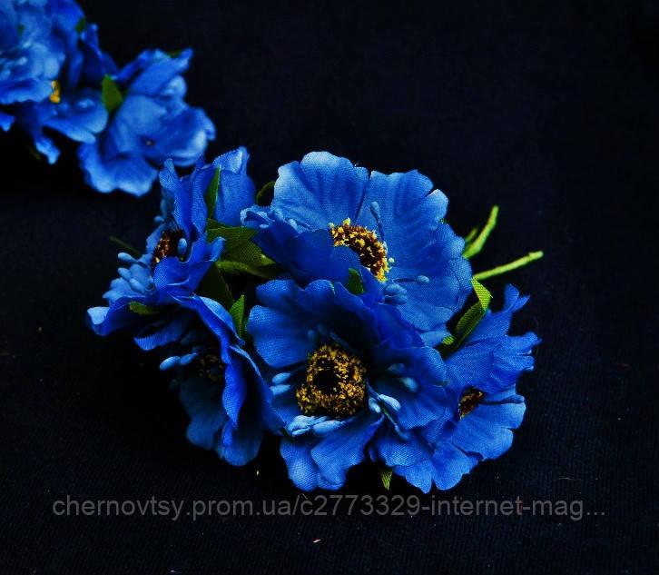 Маки из ткани уп. 60 шт. Синие