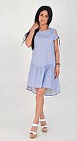 Стильное льняное летнее  платье в голубо-белую полосочку  с 44 по 50 размер