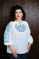Красивая женская вышитая блуза в голубой гамме до 60 размера