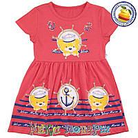 Детское платье с мишками коралового цвета морской тематики для девочек от 2 до 6 лет (4122-7)