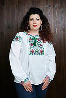 Нарядная женская вышитая блуза до 60 размера