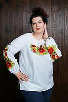 Красивая женская вышитая блуза с маками до 60 размера