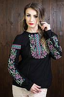 Стильная молодежная вышитая блуза черного цвета с очень нежной вышивкой