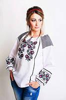 Нарядная вышитая блуза из льна с красивым узором