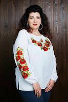 Нарядная женская вышитая блуза из батиста до 60 размера
