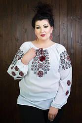 Стильная шифоновая украинская вышиванка белого цвета